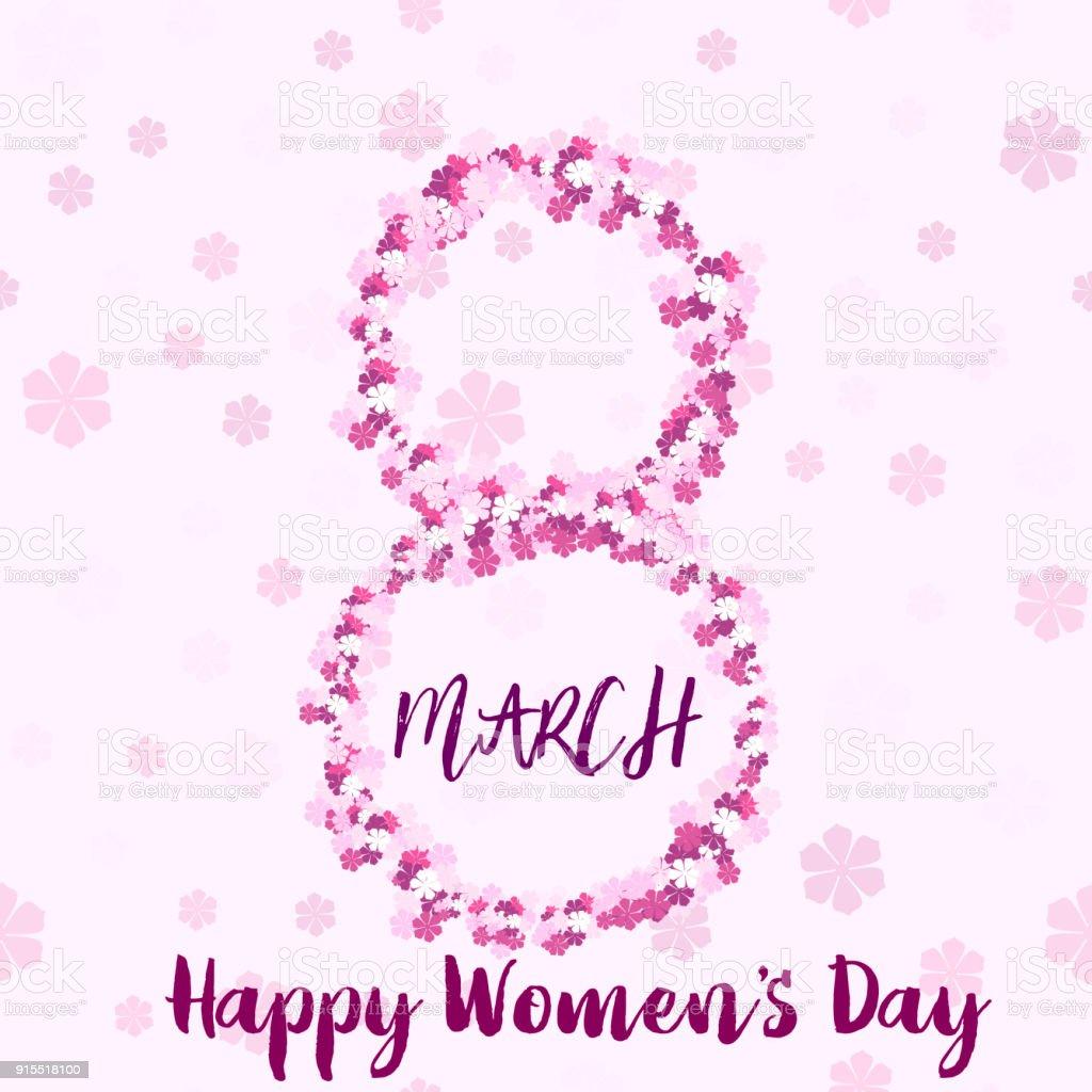 8 Mart El Yazısıyla Yazılan Yazı Pembe Metin Ve çiçeklerle Mutlu