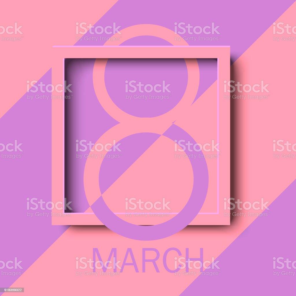 8 März Glückliche Frauen Tag Grußkarte Mit Rosa Quadratischen Rahmen ...
