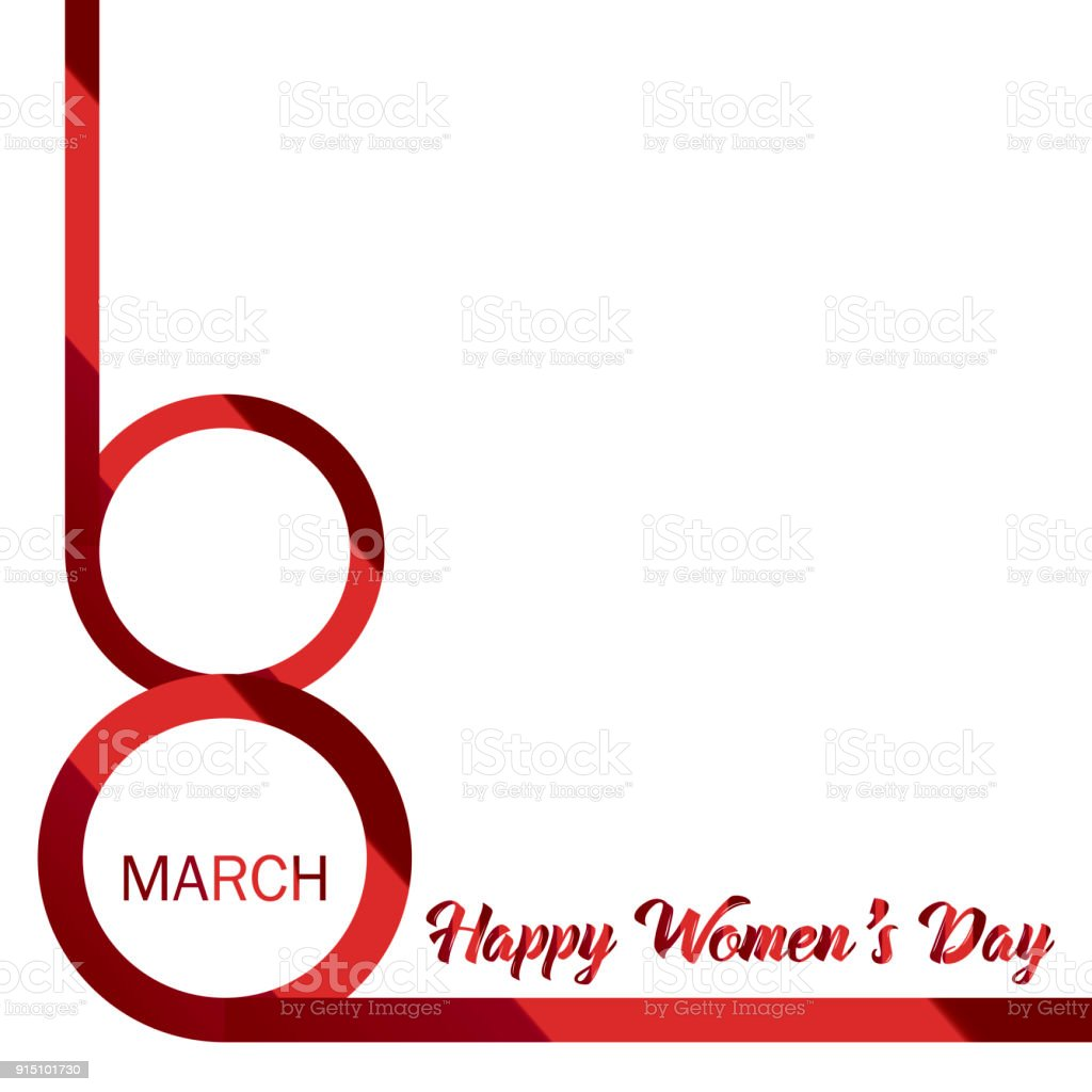 8 march happy womens day greeting card with red ribbon 8 number happy womens day greeting card with red ribbon 8 number vector m4hsunfo