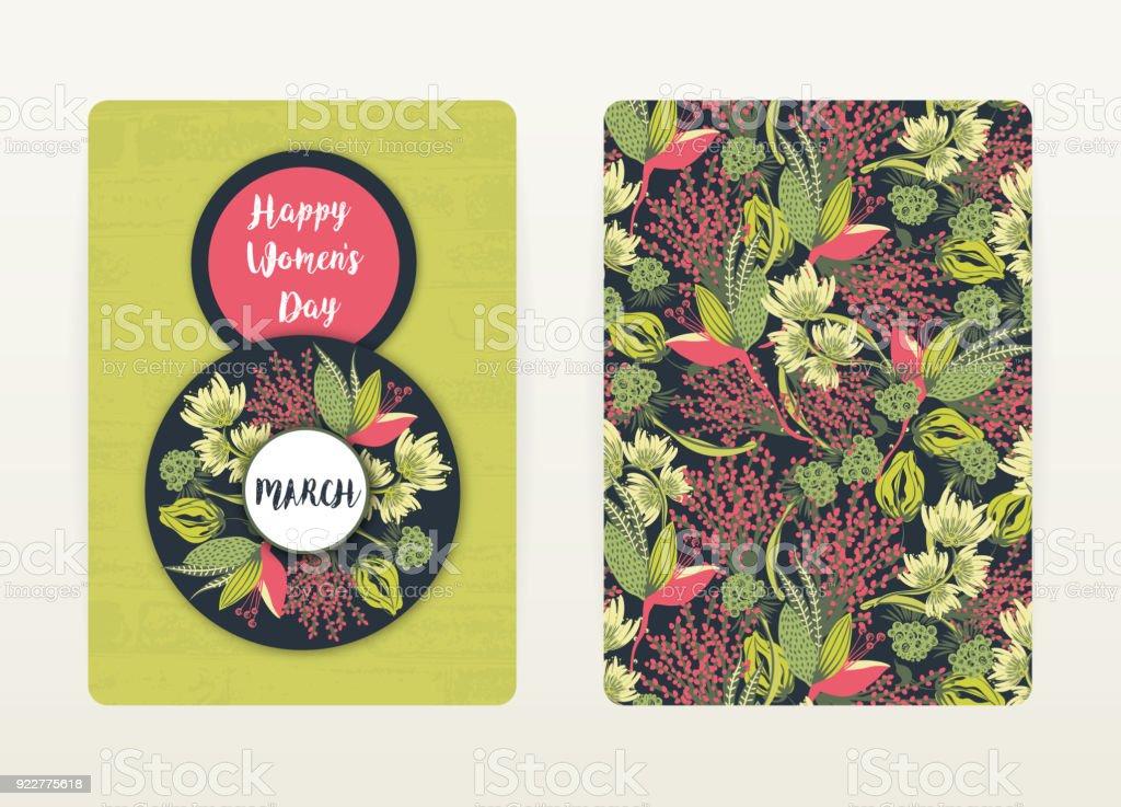 8 März Glückliche Frauen Tag Frühlingsferien Card Design Mit ...