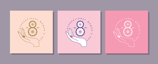 8 March - Happy women's day symbol of woman hand with flowers line art