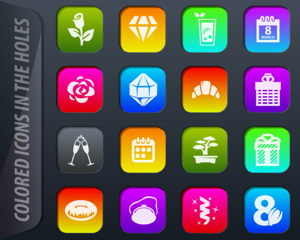 8. märz stellen icons - glasohrringe stock-grafiken, -clipart, -cartoons und -symbole
