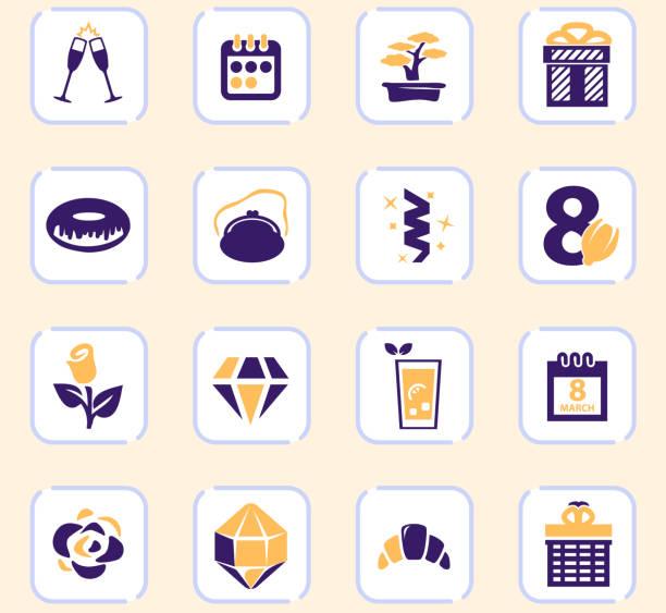 8. märz icons gesetzt - glasohrringe stock-grafiken, -clipart, -cartoons und -symbole
