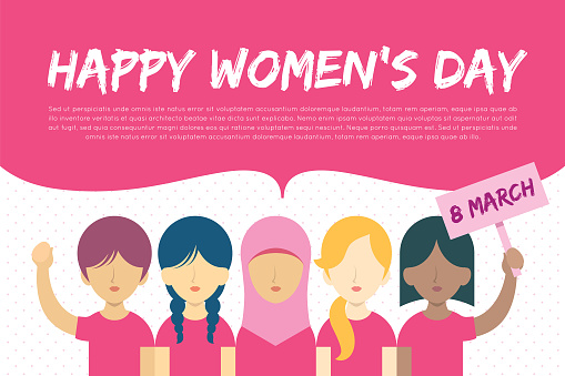 8 march - International Women's Day - different nationality woman with speech bubble