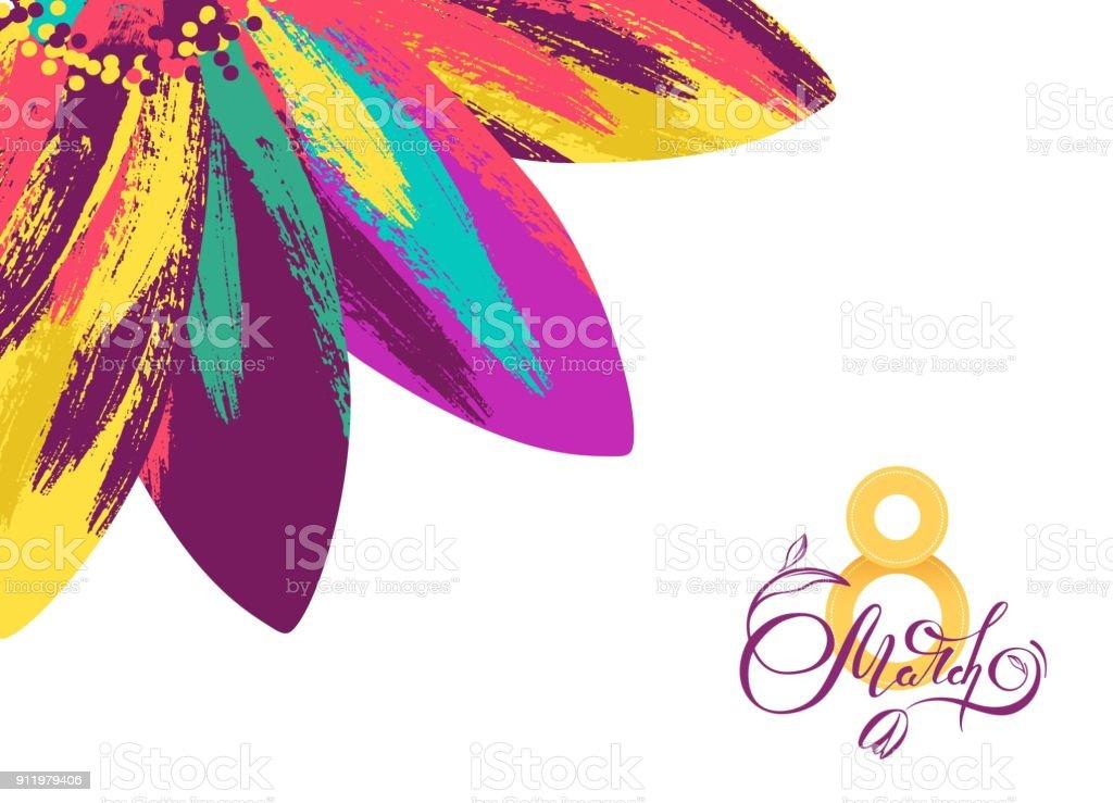 8 Mart Dunya Kadinlar Gunu Tebrik Karti Sablonu Renkli Cicek Ve