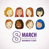 Celebrate International Women's Day on 8th March with multi-ethnic women's head, to fight for gender equality by the feminist movement
