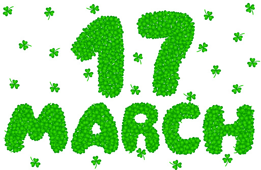 17 March Lettering Made of Shamrock Leaves