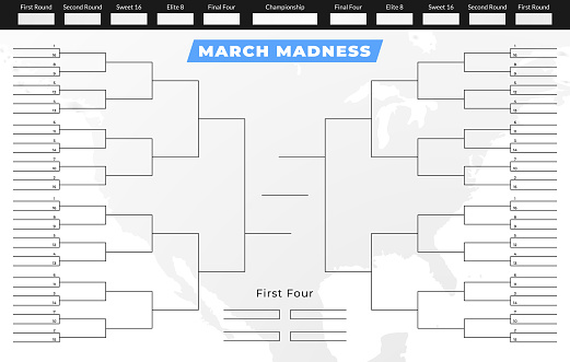 March madness tournament bracket. Empty competition grid template.