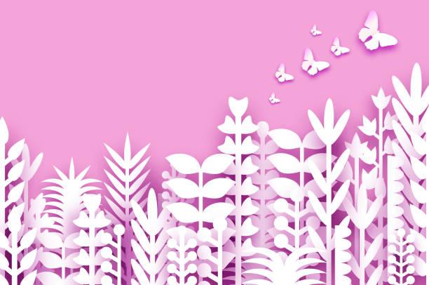 illustrazioni stock, clip art, cartoni animati e icone di tendenza di 8 marzo. fiori primaverili di origami. buona giornata delle donne. fiori recisi misti di carta bianca, foglie tropicali, farfalle per la visualizzazione delle finestre. spazio per il testo. viola. festa della mamma. buone feste. - farfalla ramo