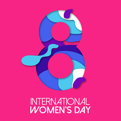 8 March papercut illustration for International Women's Day card. Vector paper cut number eight with pink background. Trendy modern women's day greeting card template.