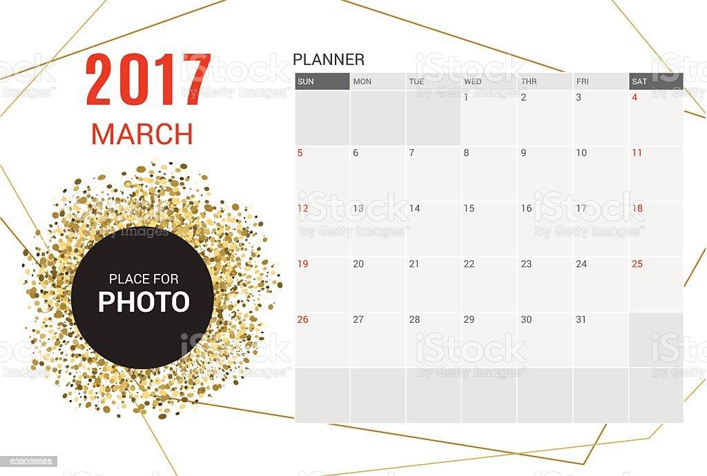 March Planner Calendar Template 2017 Yearweek Starts Sunday Stock