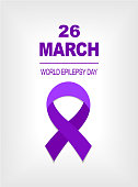 26 march Purple Ribbon World epilepsy day on the grey background .