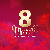 Celebrate the International Women's Day on 8th March with calligraphy on red floral background