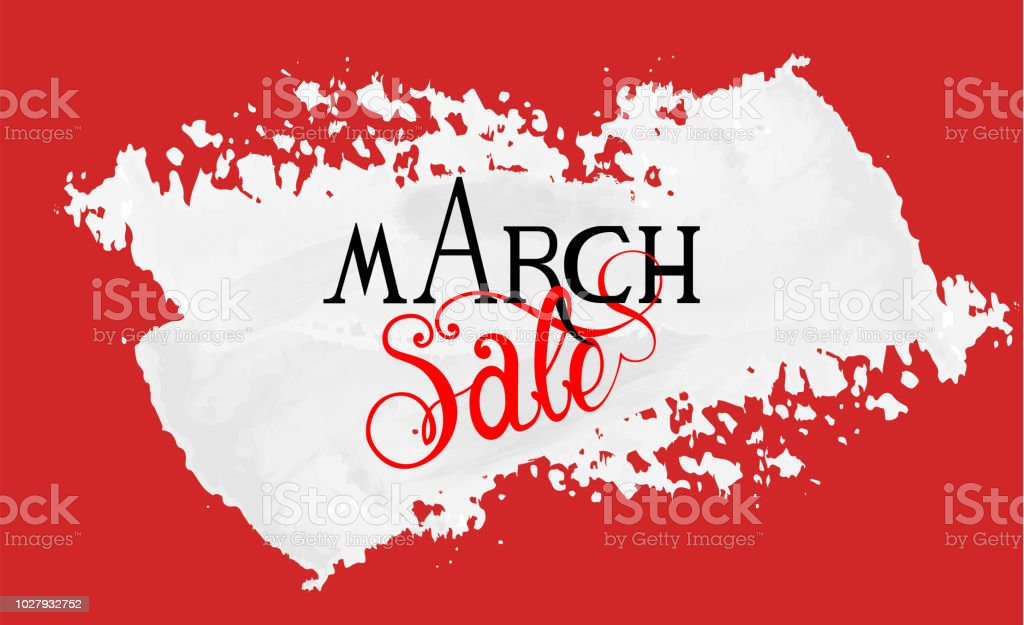 March Sale text made with custom made font and lettering on white...