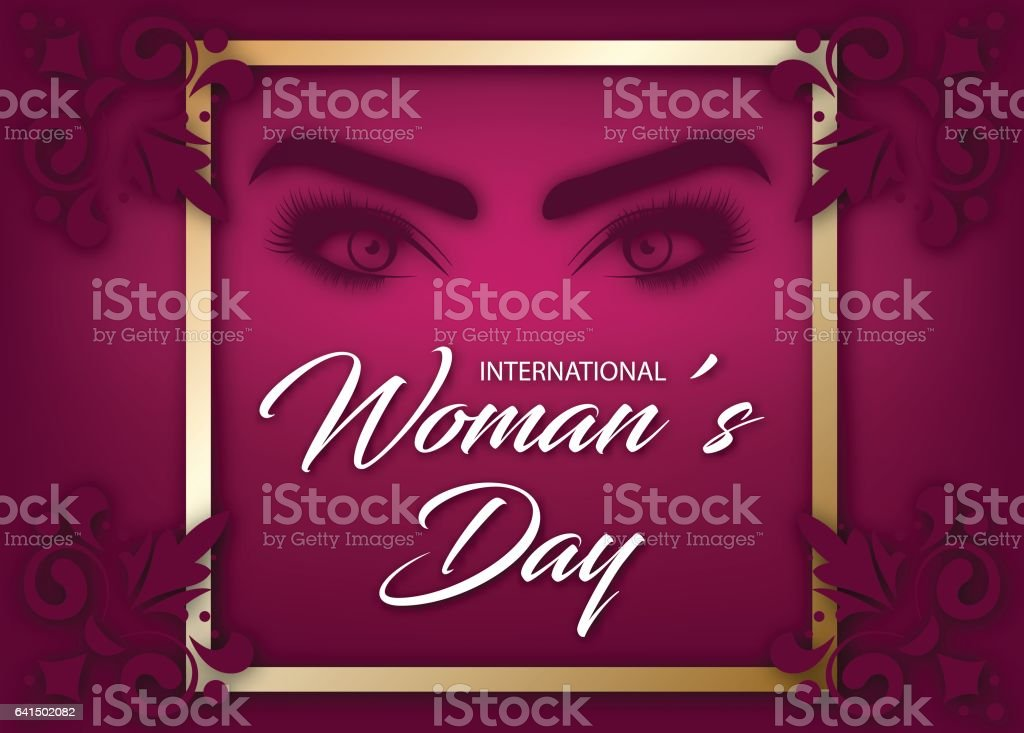 8 March vector banner or greeting card template. Creative background for International Womens Day vector art illustration