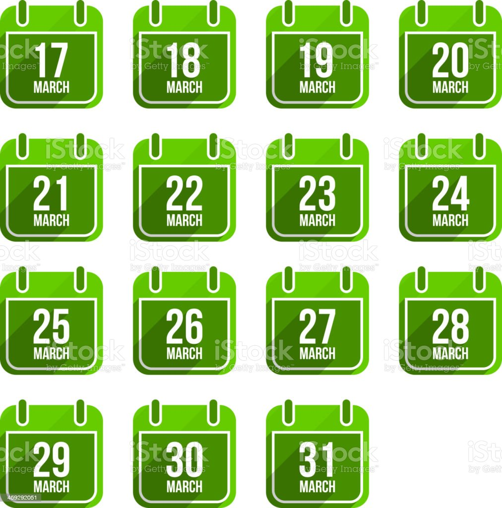 March vector flat calendar icons. Days Of Year Set 12 royalty-free march vector flat calendar icons days of year set 12 stock illustration - download image now