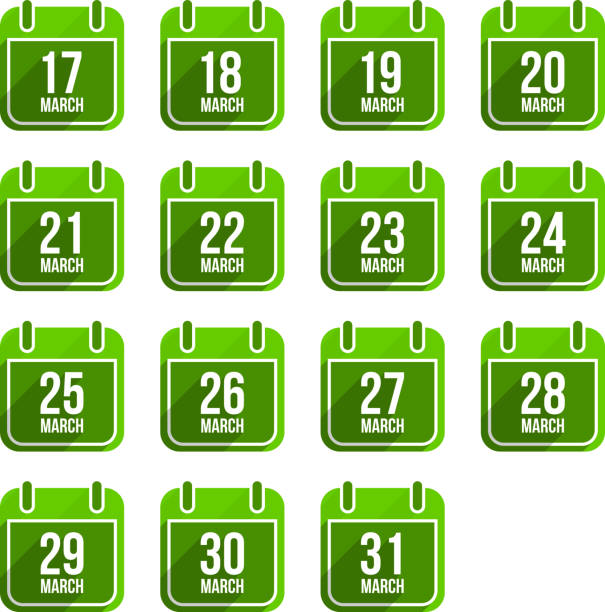 march vector flat calendar icons. days of year set 12 - 18 mart stock illustrations, clip art, cartoons, & icons