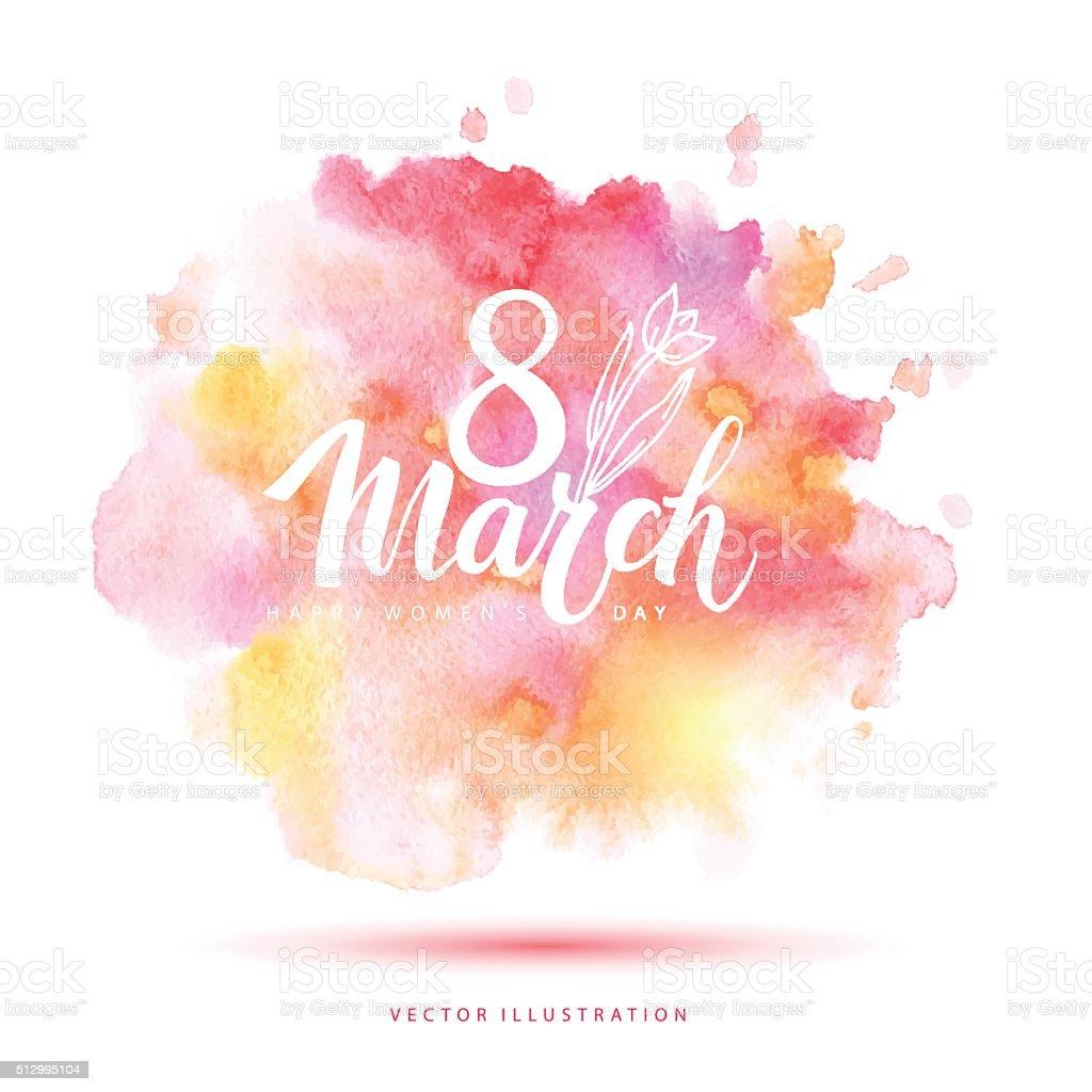 8 March vector watercolor card. vector art illustration