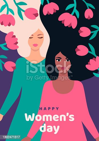 istock 8 march with woman and flower 1302471317