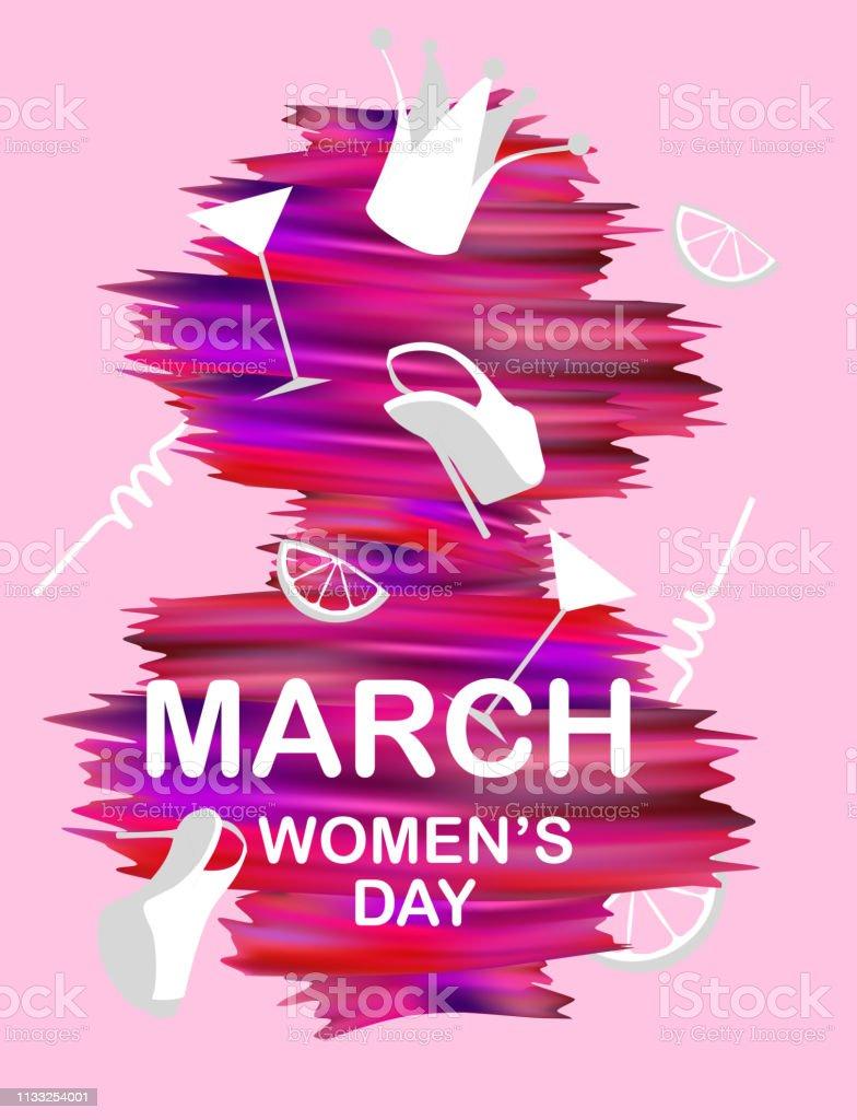 Pembe Boya Vuruslari Ve Kiz Nesneleri Ile 8 Mart Kadin Gunu Poster