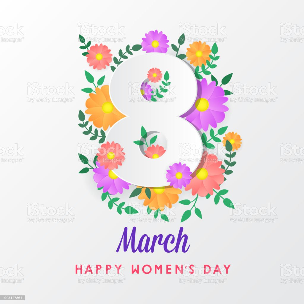 8 March Womens Day Greeting Card Poster Banner Background Stock