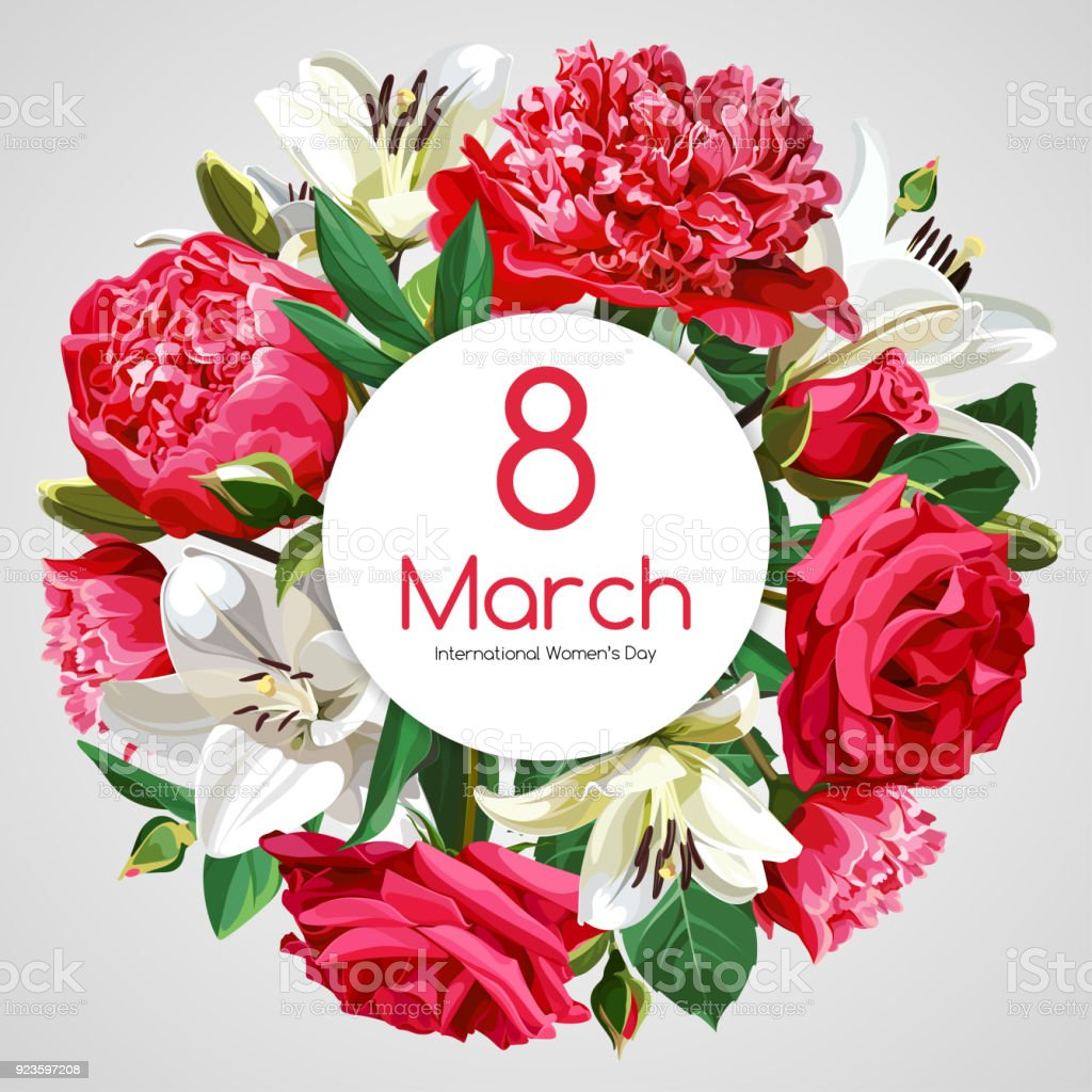 8 March Womens Day Greeting Card Template Red And White Flowers