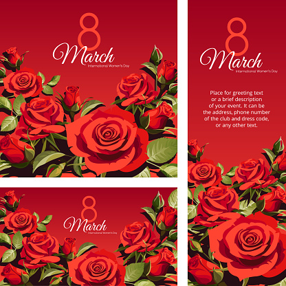 8 March Women's Day greeting card template. Red roses isolated on red background.
