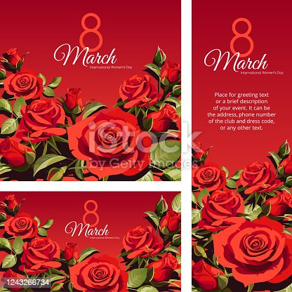 istock 8 March Women's Day greeting card template. Red roses isolated on red background. 1243266734