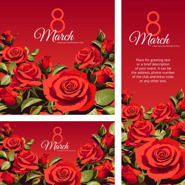 8 March Women's Day greeting card template. Red roses isolated on red background. vector art illustration