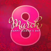 Celebrate the International Women's Day on 8th March with calligraphy and number 8 on red floral background