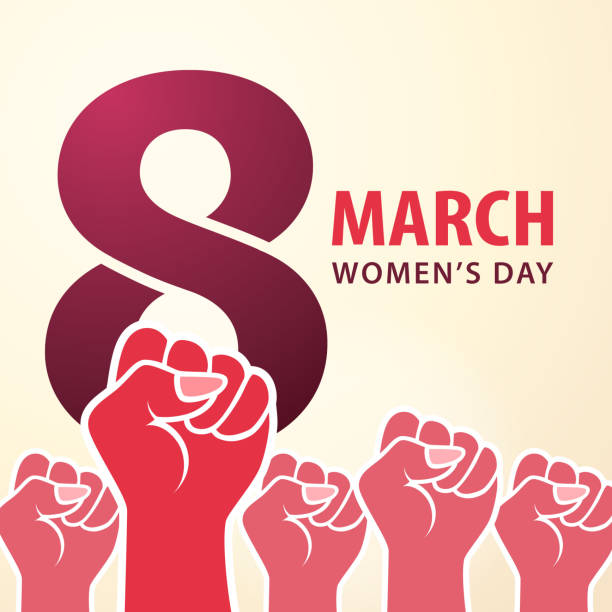 8 March Women's Day The International Women's Day on 8th March is a national day to fight for gender equality by the feminist movement party conference stock illustrations