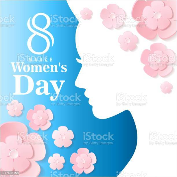 March womens day woman shadow flower blue background vector image vector id917493158?b=1&k=6&m=917493158&s=612x612&h=be edtgd9kjzebbbsbyre9tqde8mrzpsfl 03haophc=