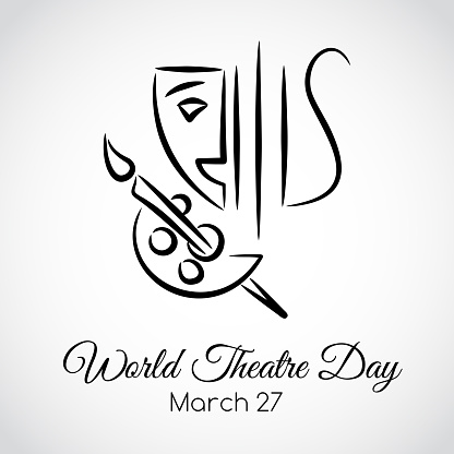 27 March. World theatre day greeting card