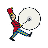 Marching band bass drummer isolated cartoon vector illustration. Music and celebration color symbol