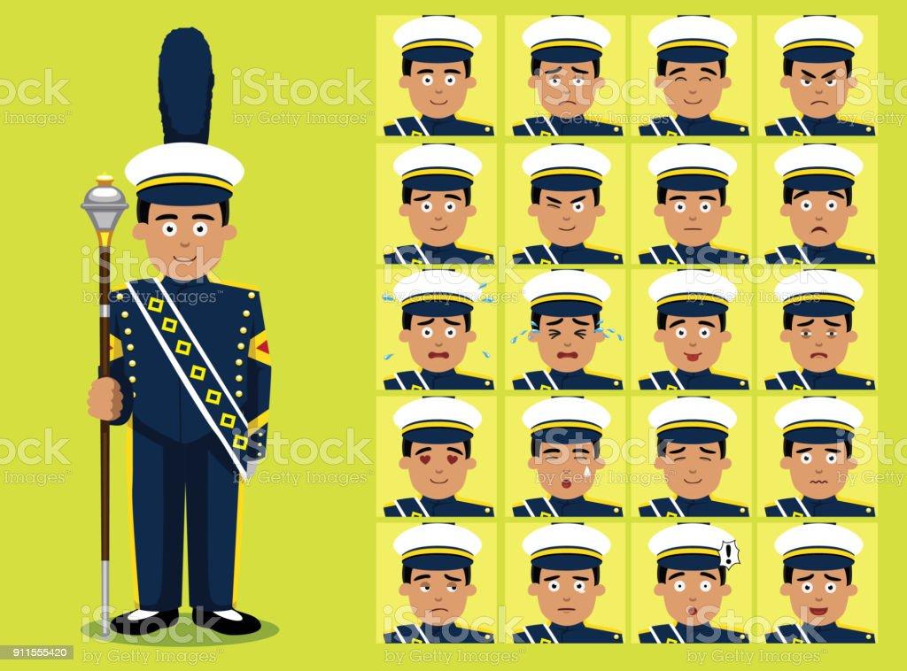Marching Band Drum Major Cartoon Charakter Emotion Gesichter – Vektorgrafik