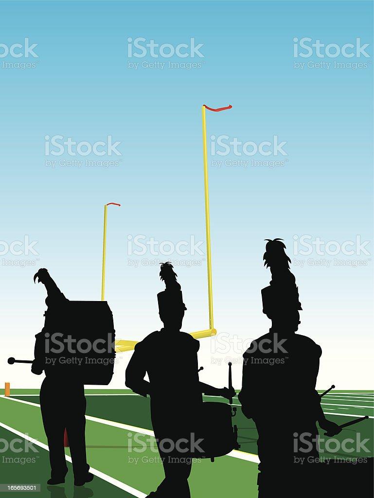 Blaskapelle Trommeln Football Unterhaltungseinlage zur Halbzeit – Vektorgrafik
