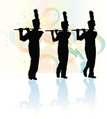 Flutist Background. Tight graphic silhouette illustrations of the flute line in a Marching Band. Use with or without the plume. Scale to any size, color changes a snap. Check out my \