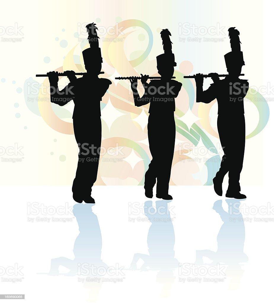 Blaskapelle-Flöte Flutist Silhouette Hintergrund – Vektorgrafik