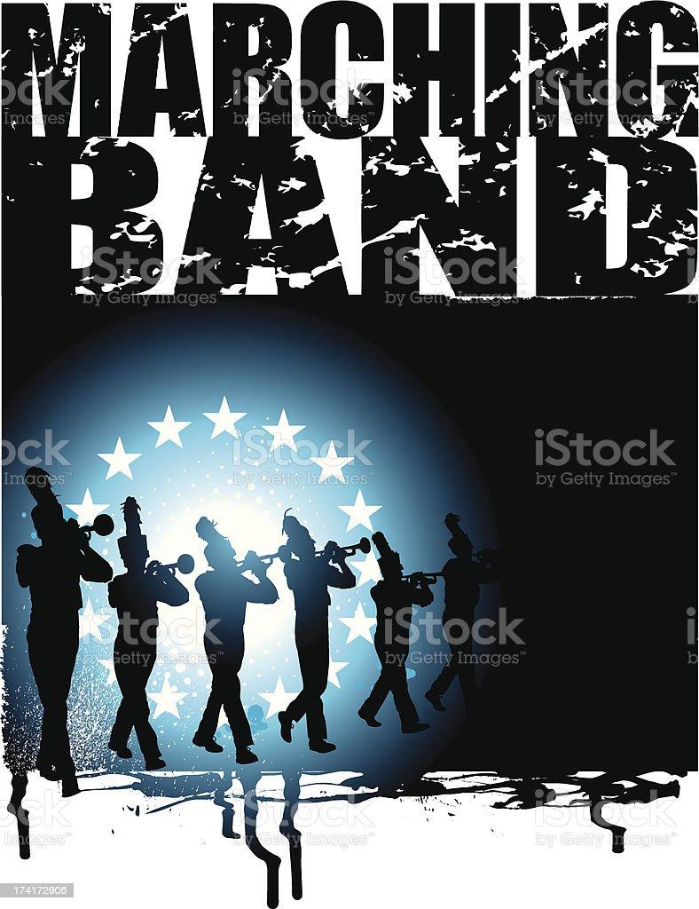 Blaskapelle-Grunge Hintergrund, Trompete Line – Vektorgrafik