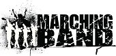 Marching Band Grunge Graphic Background with Trumpet line and the words \