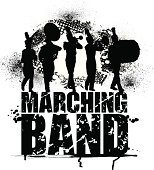 Marching Band - Grunge Graphic Background. Grunge graphic silhouette illustration of a Marching Band. Drummer, Flute, Trumpet and Mellophone, Tuba. Layered for easy color edits. Check out my \