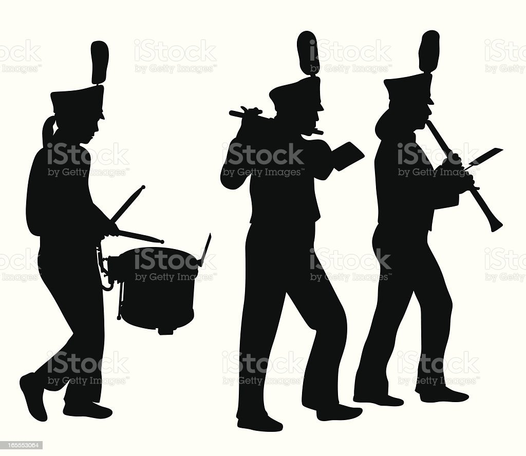 Marching Band Musicians Vector Silhouette royalty-free stock vector art
