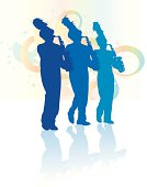 Marching Band Saxophone Line - Parade Background. Tight graphic silhouette illustrations of the Saxophone line in a parade Marching Band. Use with or without the plume. Scale to any size, color changes a snap. Check out my \