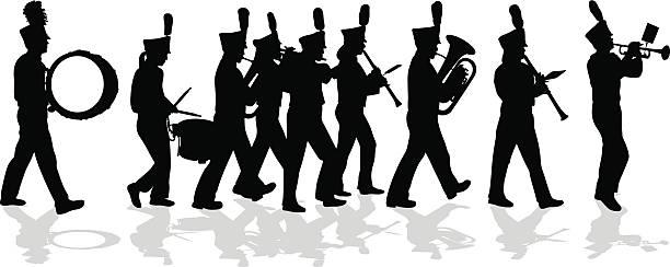 bildbanksillustrationer, clip art samt tecknat material och ikoner med marching band silhouette full lineup - parad