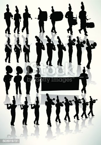 Tight graphic silhouette illustrations of the a Marching Band. Check out my