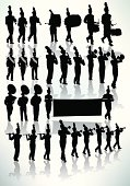 "Tight graphic silhouette illustrations of the a Marching Band. Check out my ""Marching Band Vector"" light box for more."
