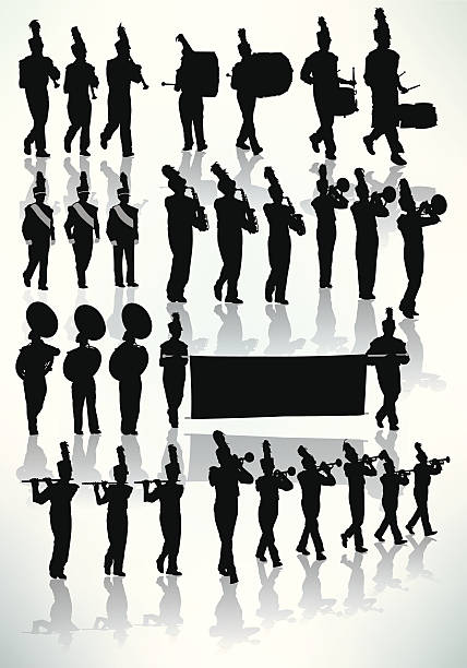 bildbanksillustrationer, clip art samt tecknat material och ikoner med marching band - silhouette - parad