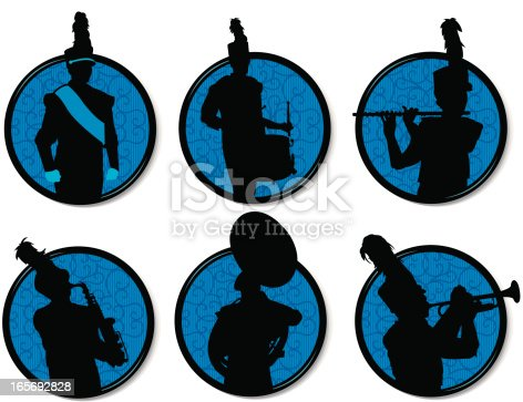 Tight graphic silhouette illustrations of a Drum Major, Drummer, Flutist, Saxophone, Sousaphone and Trumpet players in a  Marching Band. Use with or without the plume. Scale to any size. Check out my