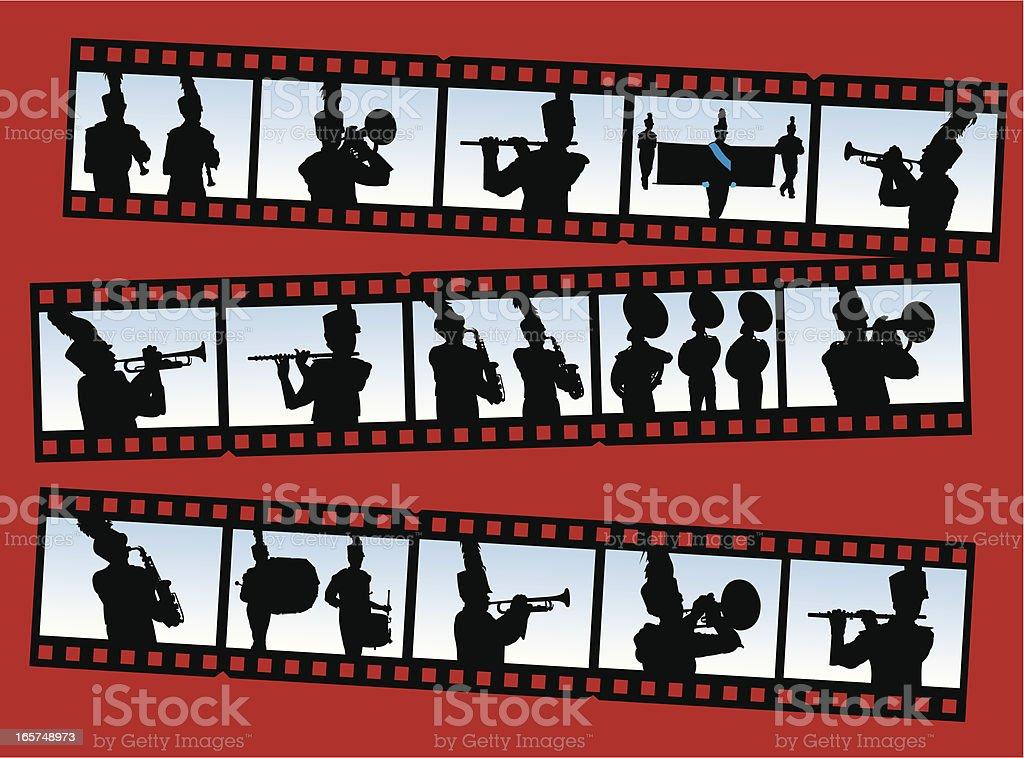 Blaskapelle Silhouetten auf Film Strip – Vektorgrafik