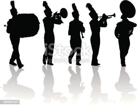 Tight graphic silhouettes of a marching band. Bass drum, trumpet, clarinet, sousaphone, mellophone. Scale to any size. Check out my